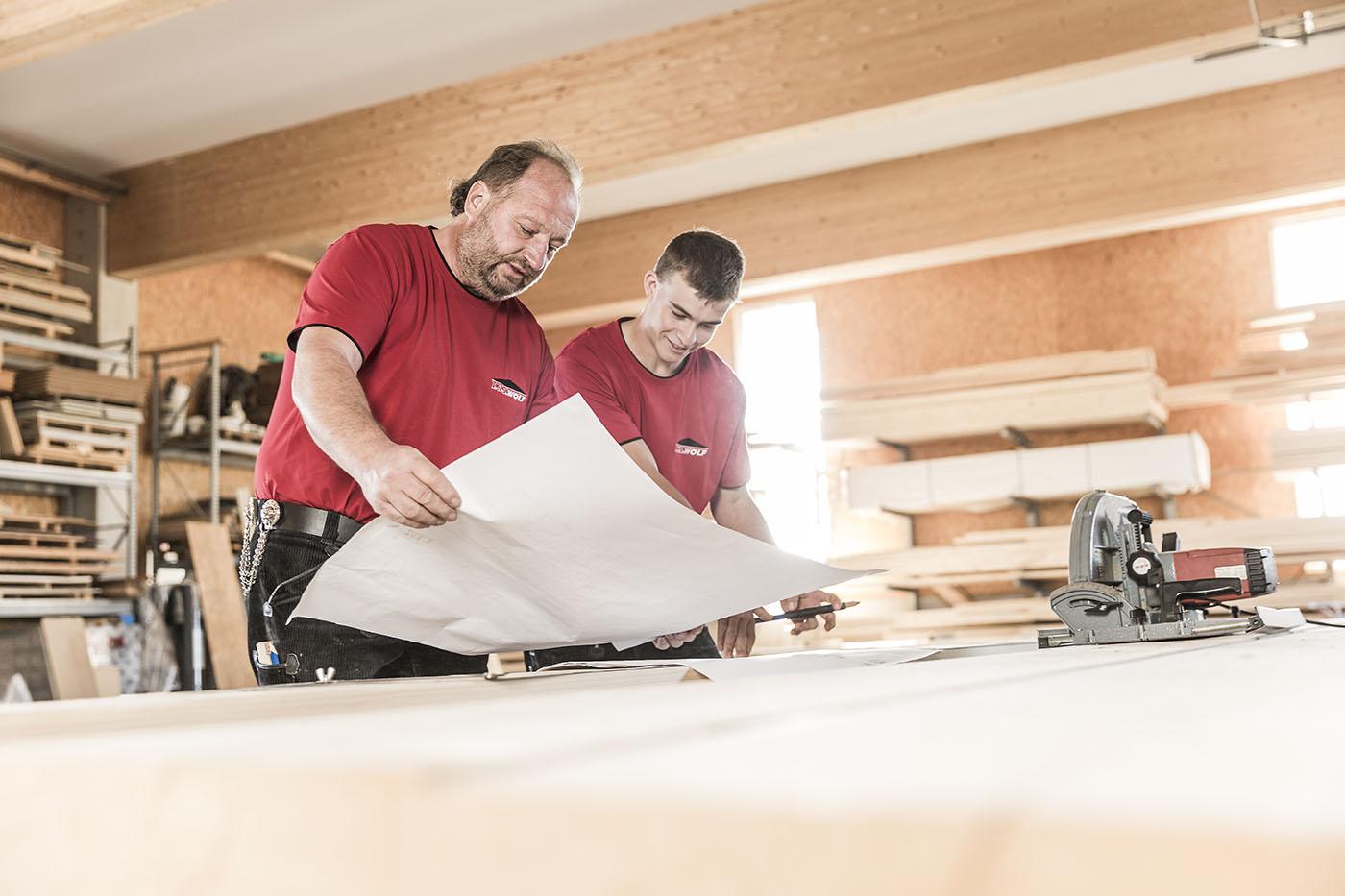Holz Dachdecker Bauplan