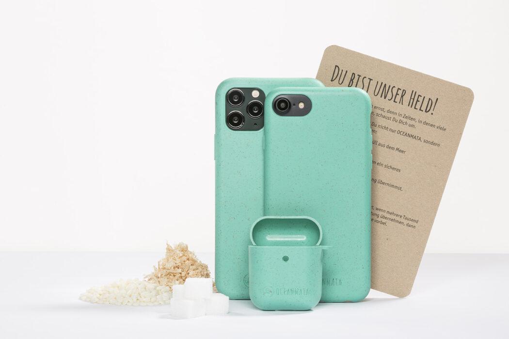 Produktfotografie Handyhülle Konvolut , mit Zutaten der Hülle