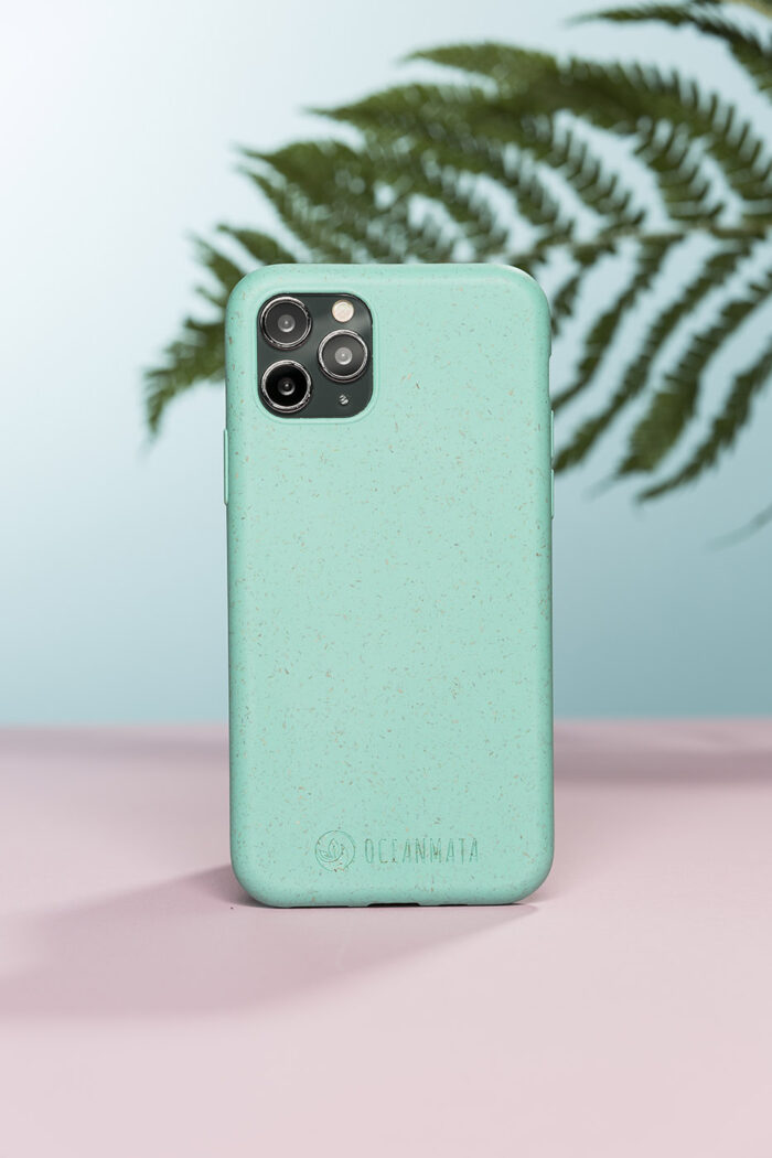 Produktfotografie einer Handyhülle im Hintergrund ein Farnblatt